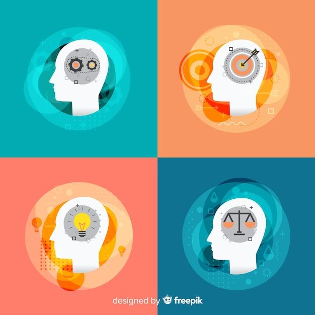 Концепция плоского мышления Бесплатные векторы