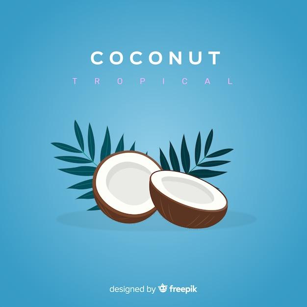 Плоская иллюстрация кокоса Бесплатные векторы