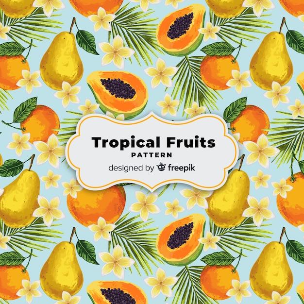 手描きのリアルなトロピカルフルーツパターン 無料ベクター