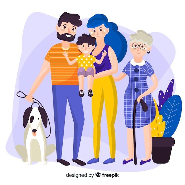 Счастливый семейный портрет, векторизованный дизайн персонажей Бесплатные векторы