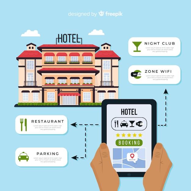 フラットホテル予約アプリケーションの背景 無料ベクター
