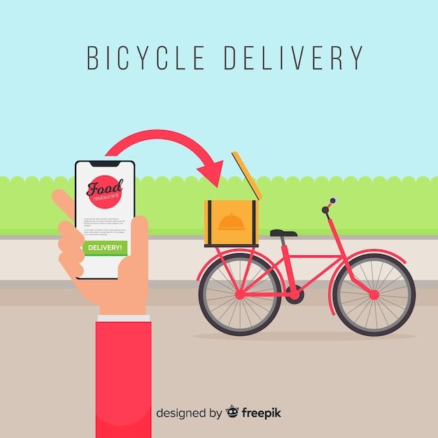 Плоская доставка девушка на велосипеде фоне Бесплатные векторы