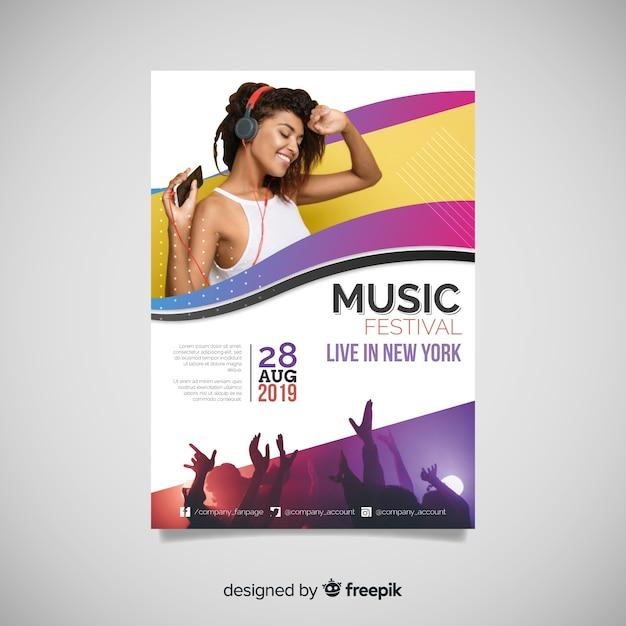 Музыкальный фестиваль постер с фото Бесплатные векторы