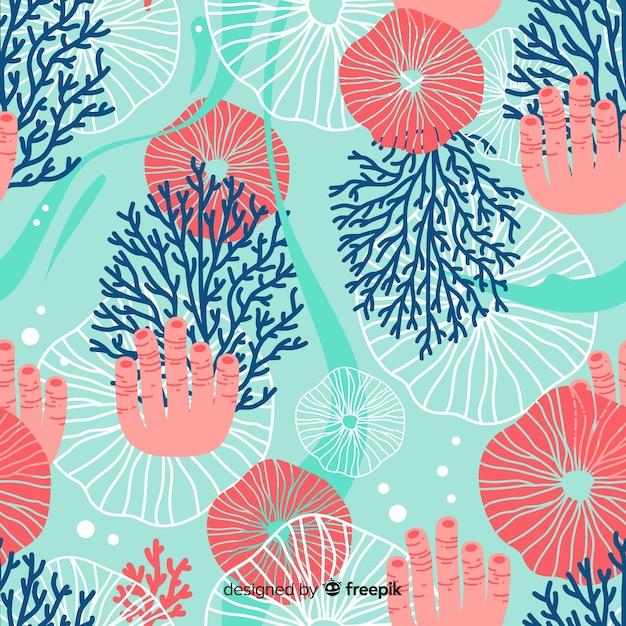 Плоский коралловый рисунок Бесплатные векторы
