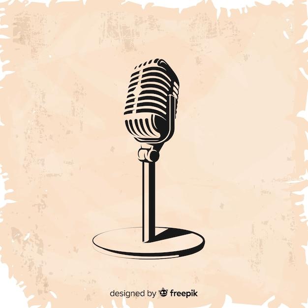 Ручной обращается старинный микрофон Бесплатные векторы