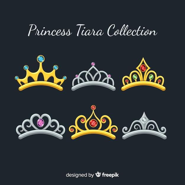 Золотая принцесса тиара коллекция Бесплатные векторы