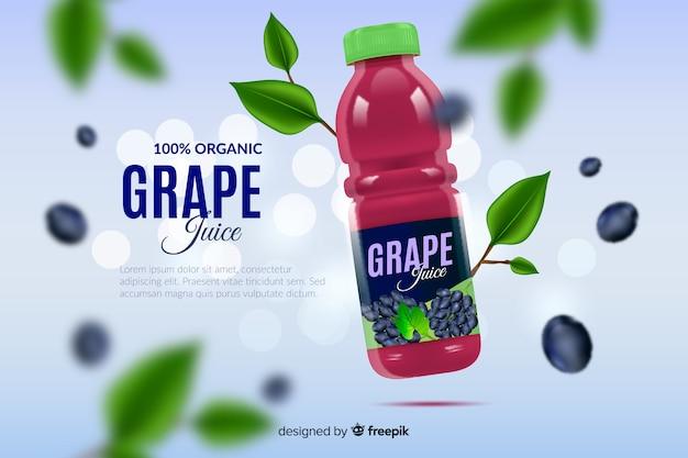 Реалистичная реклама натурального виноградного сока Бесплатные векторы