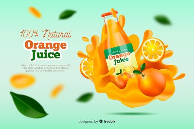 リアルな天然オレンジジュースの広告 無料ベクター