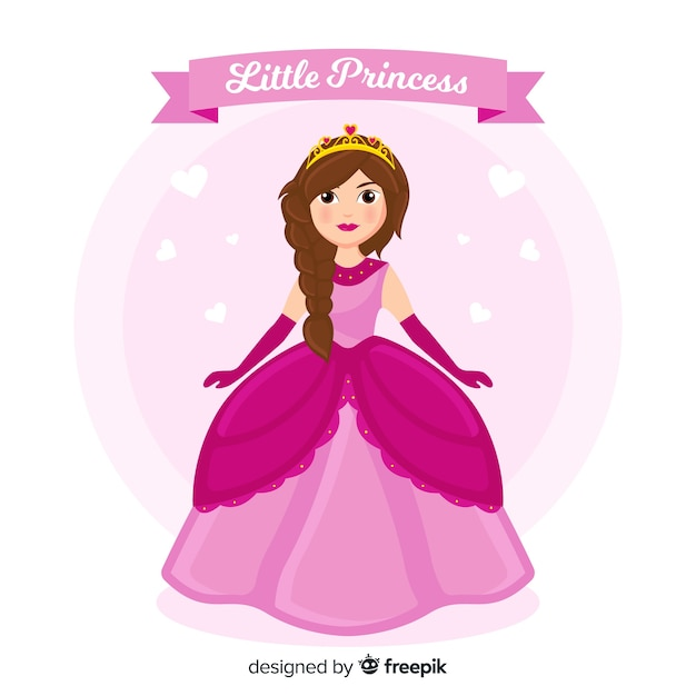 ピンクのドレスと手描きの王女 無料ベクター