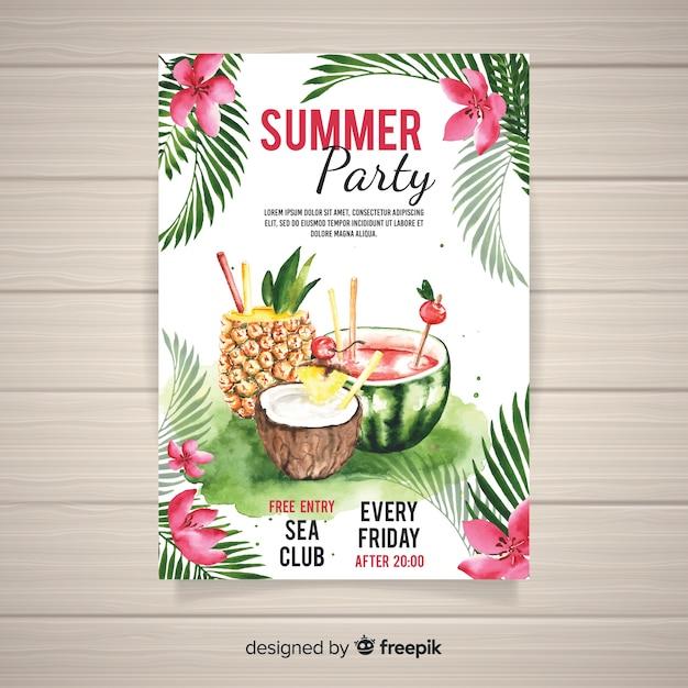 Шаблон плаката акварель летняя вечеринка Бесплатные векторы