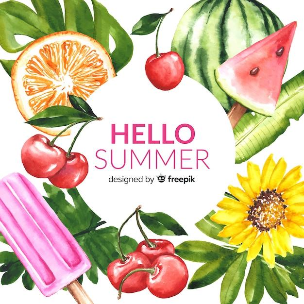 水彩こんにちは夏の背景 無料ベクター