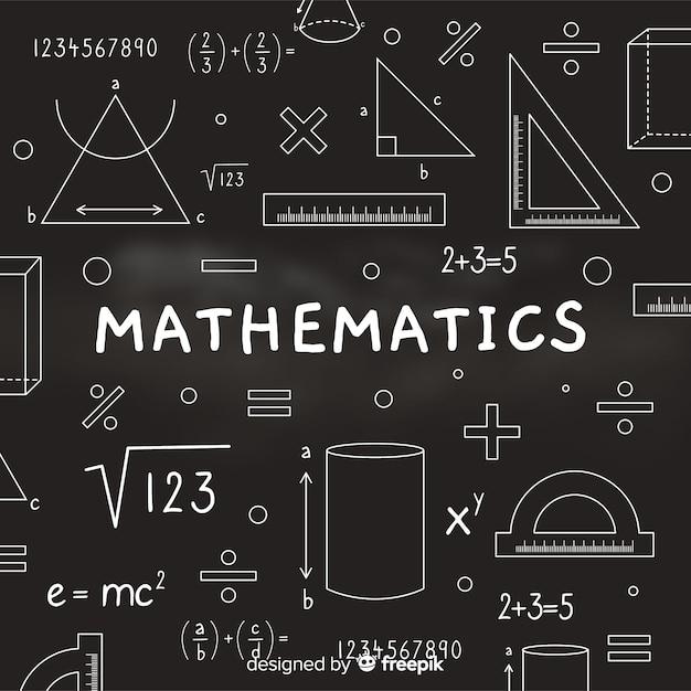 数学現実的な黒板背景 無料ベクター