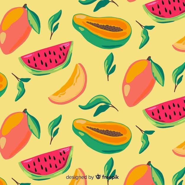 手描きのトロピカルフルーツパターン 無料ベクター
