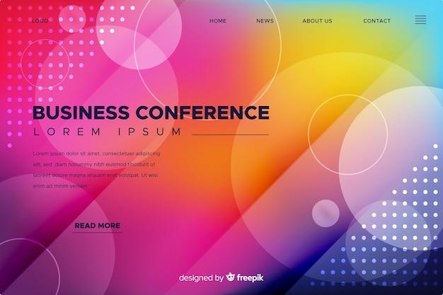 平らな抽象的な形のビジネス会議のランディングページ 無料ベクター