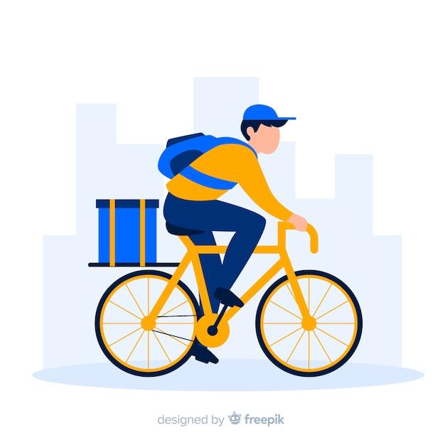 Плоский мальчик на велосипедном фоне Бесплатные векторы