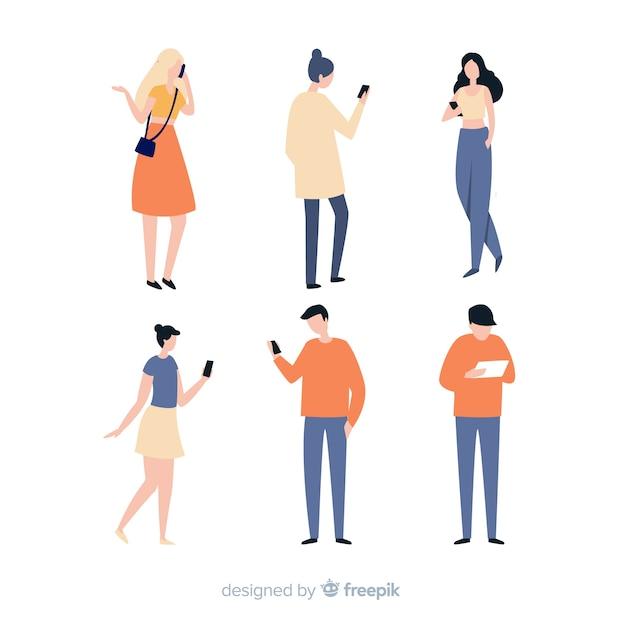 Ручной обращается молодые люди с помощью смартфона Бесплатные векторы