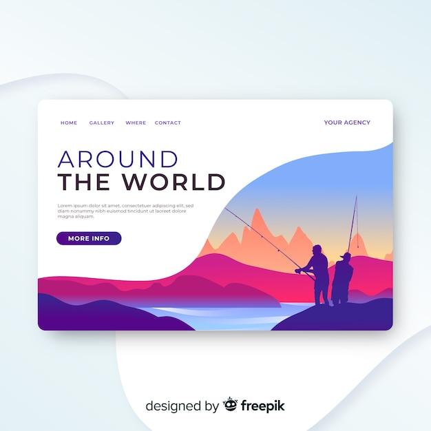 旅行のランディングページのテンプレート、美しいデザイン 無料ベクター