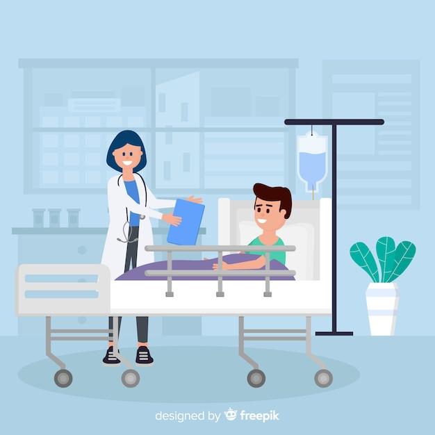 Плоская медсестра с пациентом Бесплатные векторы