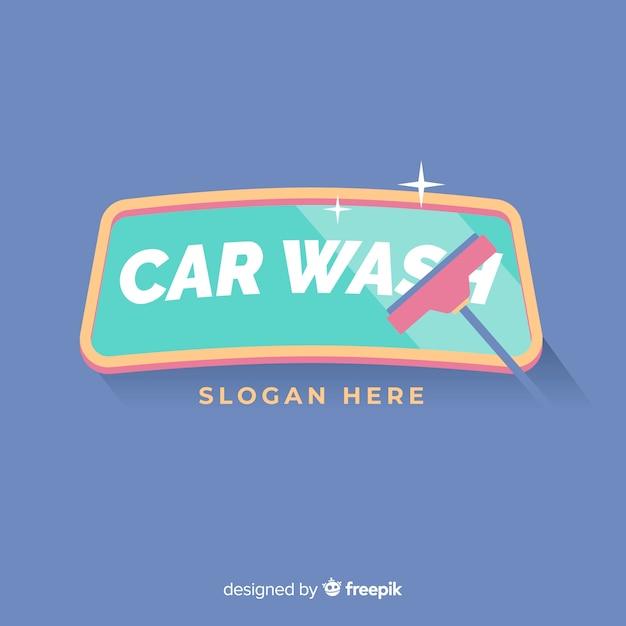 フラット洗車のロゴの背景 無料ベクター