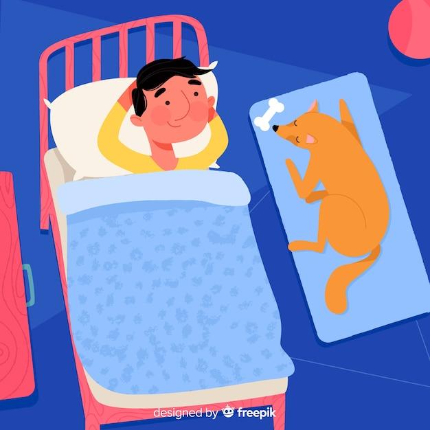 Человек спит в постели фоне Бесплатные векторы