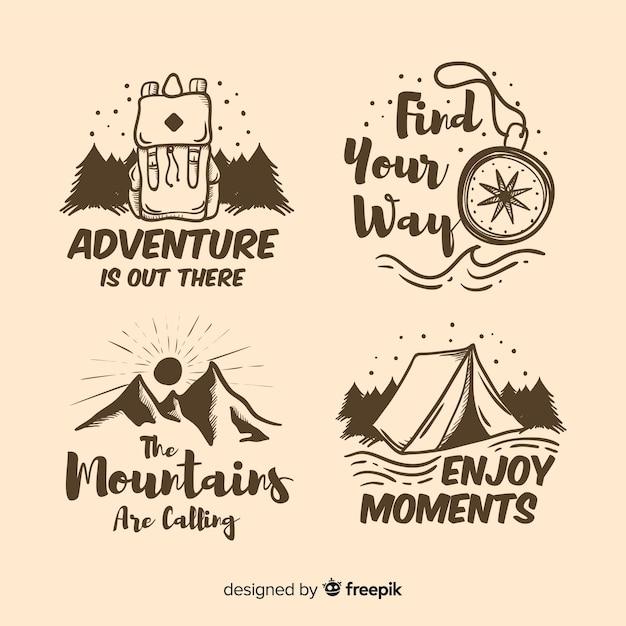 手描きの冒険ロゴコレクション 無料ベクター