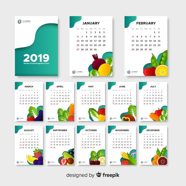 Плоский календарь сезонных овощей и фруктов Бесплатные векторы