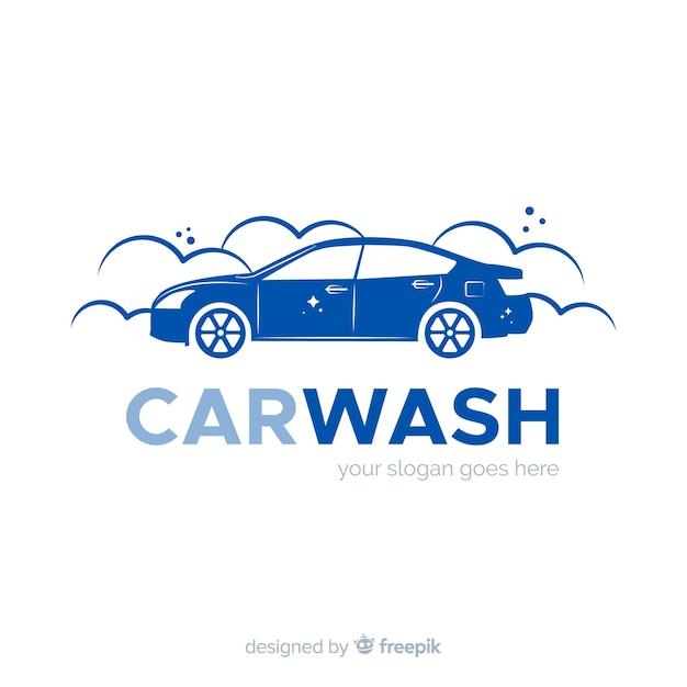 フラットブルーの洗車ロゴ 無料ベクター