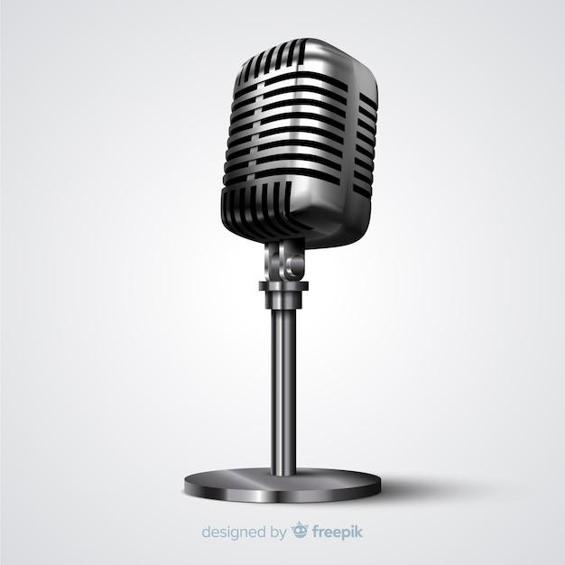 Реалистичный винтажный микрофон Бесплатные векторы
