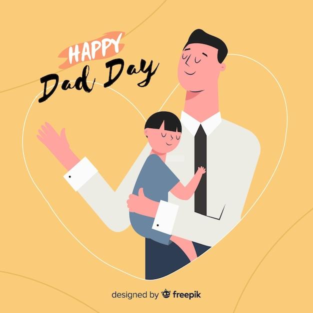 手描きの父の日の背景 無料ベクター