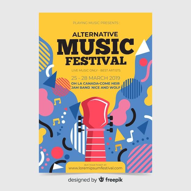 Афиша фестиваля абстрактной музыки Бесплатные векторы