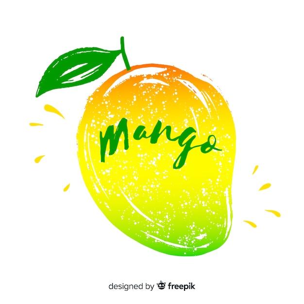 手描きマンゴーと葉の背景 無料ベクター