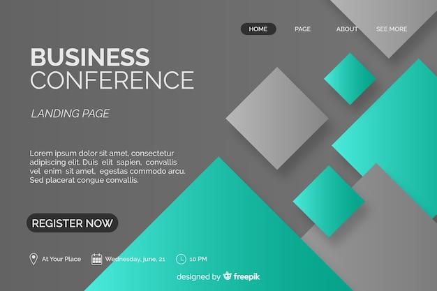 Плоские абстрактные формы бизнес-конференции целевой страницы Бесплатные векторы