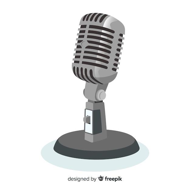 Плоский реалистичный фон микрофона Бесплатные векторы