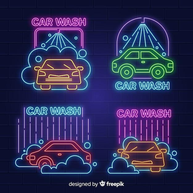 ネオン洗車サインコレクション 無料ベクター