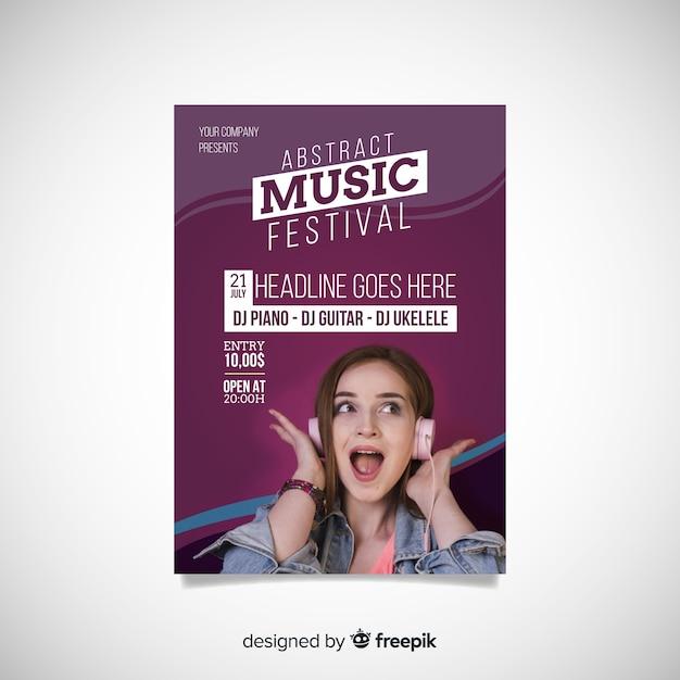 写真とカラフルな音楽祭のポスター 無料ベクター