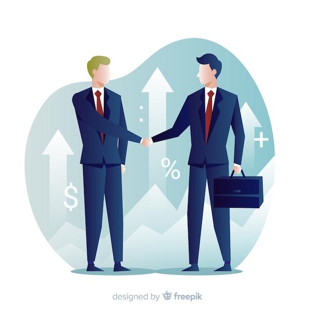 ビジネス取引の概念握手のキャラクターデザイン。 無料ベクター