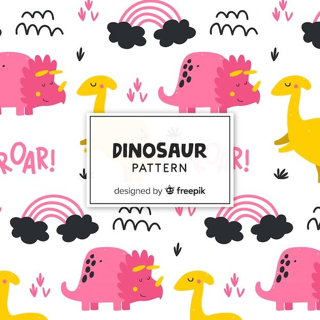 フラット恐竜パターン 無料ベクター