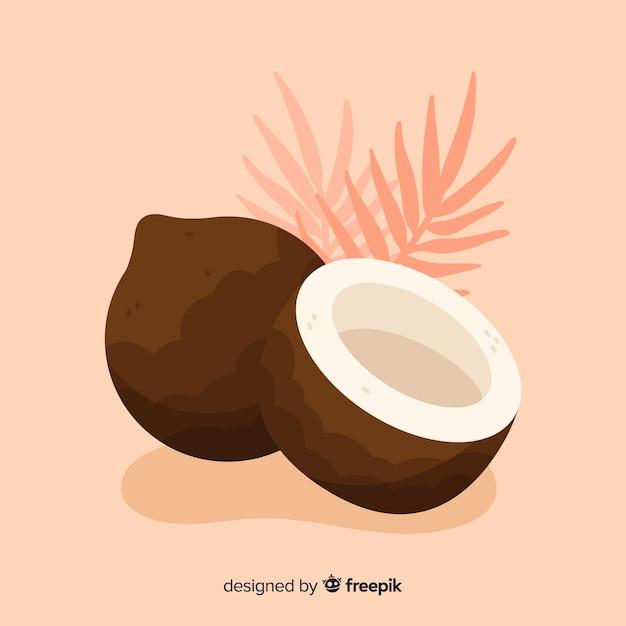 手描きのココナッツの背景 無料ベクター