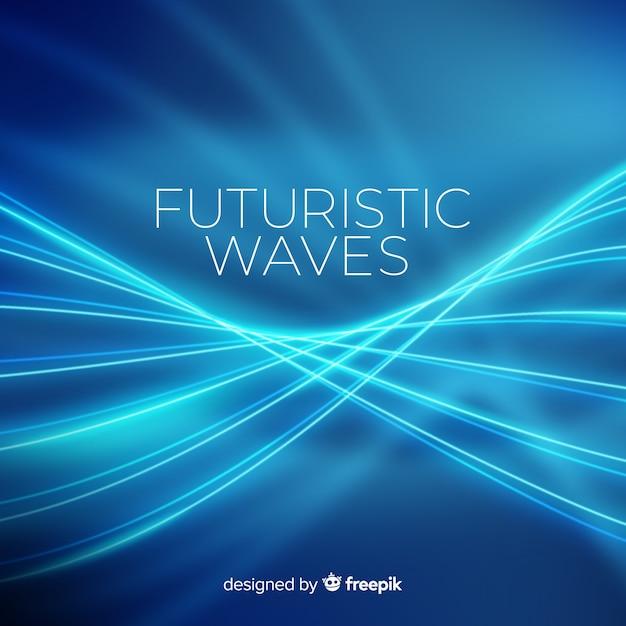 ネオンブルーの未来的な波の背景 無料ベクター