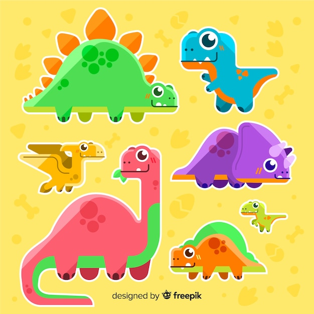 フラット恐竜コレクション 無料ベクター