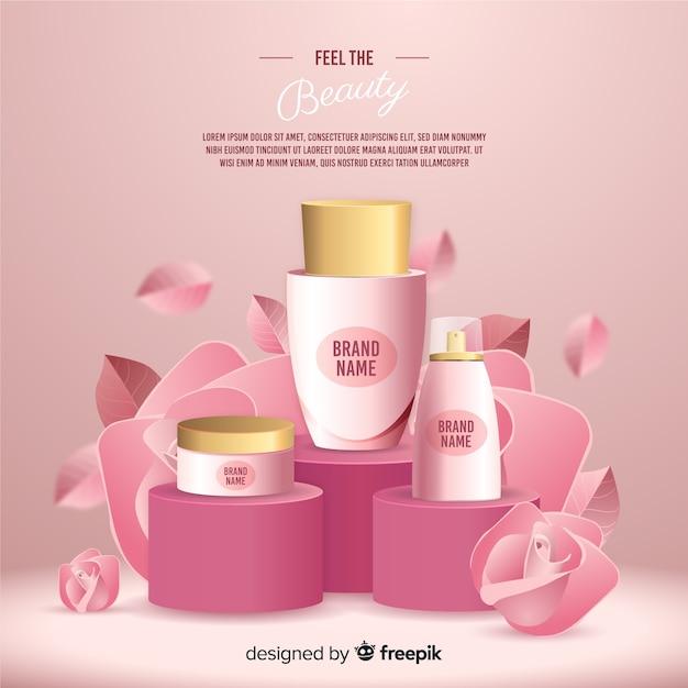 リアルな天然化粧品広告ポスター 無料ベクター