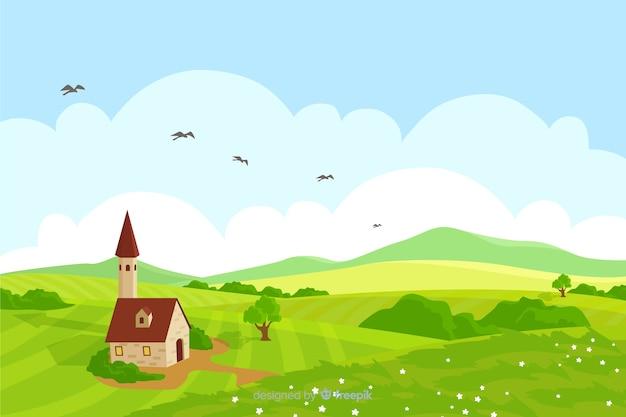Ферма пейзаж Бесплатные векторы