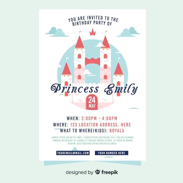 Шаблон приглашения на вечеринку в стиле принцессы Бесплатные векторы