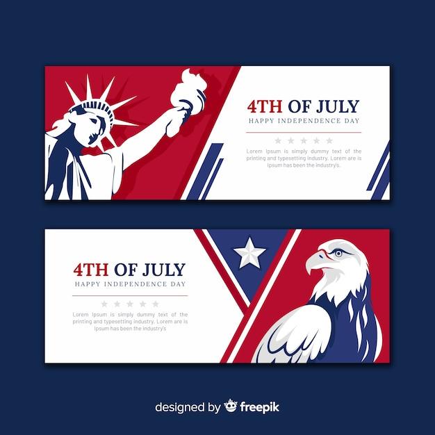 Баннеры четвертого июля Бесплатные векторы