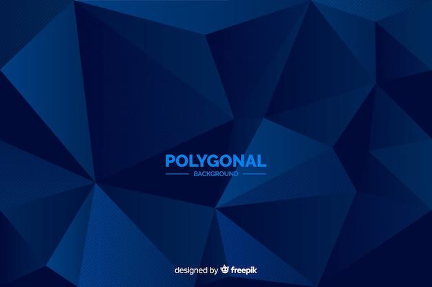 ダークブルーの多角形の背景 無料ベクター