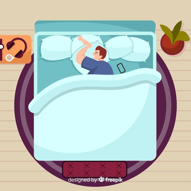トップビューフラット眠っているポーズの背景 無料ベクター