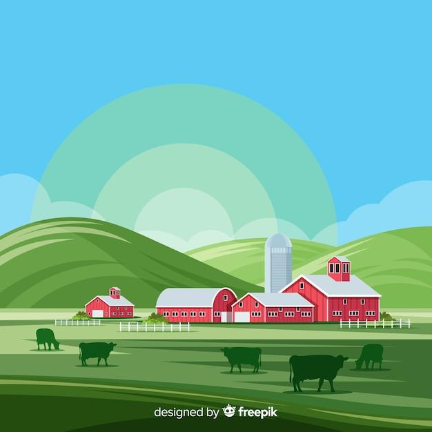 農場の風景 無料ベクター