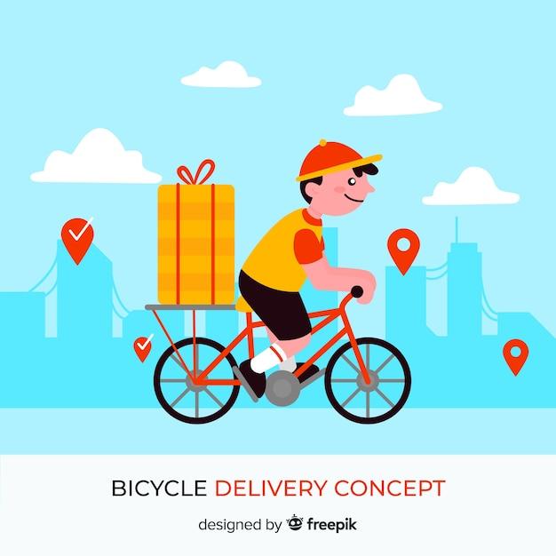 フラットスタイルの自転車配達のコンセプト 無料ベクター