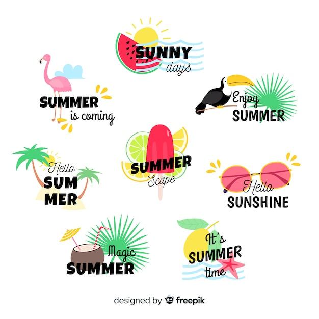 Коллекция летних этикеток Бесплатные векторы