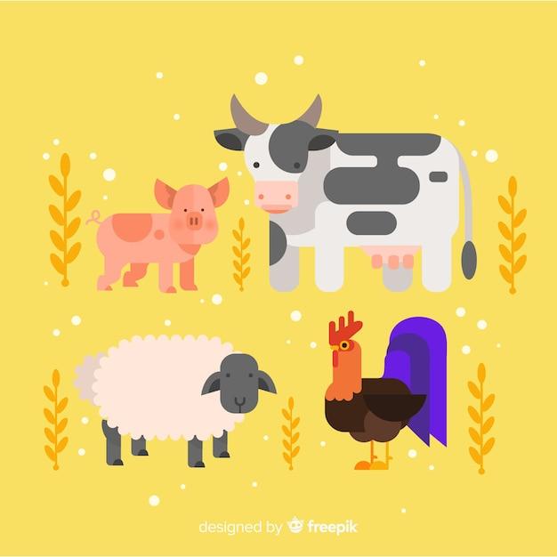 農場の動物のコレクション 無料ベクター